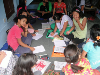 child domestic labor studying at out reach center