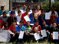 inter child club football tournment with slogan So No to Child Labor
