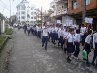 Students at rally on the occasion of children's day